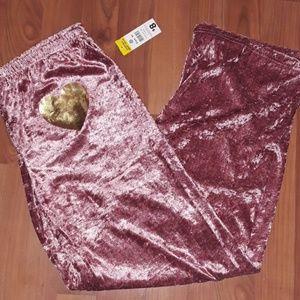 Pink velvet sleep pants